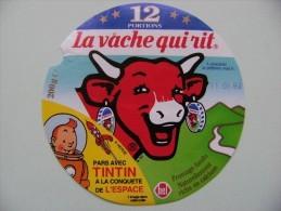 """Etiquette Fromage Fondu - Vache Qui Rit -12 Portions Bel Pub """"TINTIN Dans L'espace"""" Hergé  A Voir ! - Cheese"""
