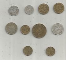 Monnaie , MAROC ,  Empire Chérifien,  1,2,5,10 Francs , 2 Scans , LOT DE 10 MONNAIES - Kilowaar - Munten