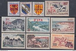Réunion N° 307 / 19 X La Série Des 14 Valeurs Surchargées CFA   Trace De Charnière Sinon TB - La Isla De La Reunion (1852-1975)