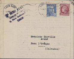 YT 679 Ceres + 718 A CAD Caen Gare Calavdos 8 VII 1947 1er Premier Jour De Tarif à 6F - Poststempel (Briefe)