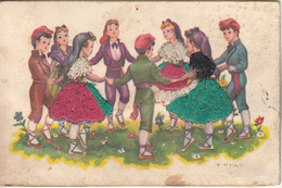 "Carte Brodée "" Enfants Dansants La Farandole   "" - Ricamate"