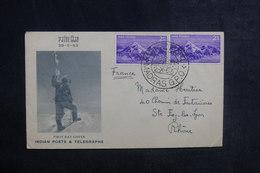 INDE - Enveloppe FDC En 1953 ( Conquête De L 'Everest ) Pour La France - L 38694 - FDC