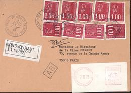 Lettre Recommandée AR Longwy Haut CAD 54 Meurthe Moselle 7 5 79 YT 1892 X9 + Vignette EMA Machine Affranchir Complément - Postmark Collection (Covers)