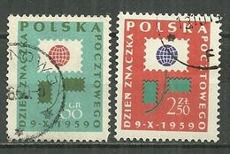 POLAND Oblitéré 990-991 Journée Du Timbre Fleur Cor De Poste - 1944-.... République
