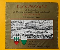 11360 - Vin D'Honneur Réception Du Président Du Grand Conseil Luc Jotterand Bière 7.05.1968  Suisse - Politica (vecchia E Nuova)