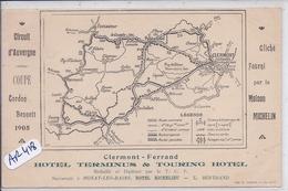 CLERMONT-FERRAND- HOTEL TERMINUS & TOURING HOTEL- COUPE GORDON BENNETT 1905- CIRCUIT D AUVERGNE- RARE - Clermont Ferrand