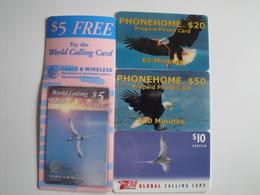 4 Difficult Phonecards With Birds - Télécartes