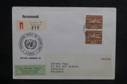 NATIONS UNIES - Enveloppe En Recommandé De Genève Pour La Belgique En 1968 - L 38725 - Cartas
