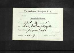 Germany / Deutschland 1917 Gymnastics - Turnerbund Stuttgart Interesting Cover Scarce - Gymnastik