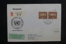 NATIONS UNIES - Enveloppe En Recommandé De Genève Pour La Belgique En 1968 - L 38728 - Cartas