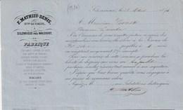 Silenrieux Walcourt - Fabrique Fer Battu Essieux Poulies Fusées - F.Mathieu-Denis - 25 Mars 1874 - Belgique