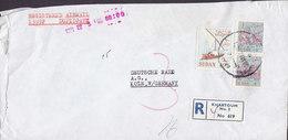 Sudan EL NILEIN BANK Registered Einschreiben Label KHARTOUM 1971 Cover Brief DEUTSCHE BANK Köln Animals 10 Pia Segelboot - Sudan (1954-...)