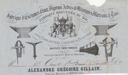 Gosselies - Entete De Facture - Enclumes Etaux Bigornes - A. Gregoire Gillain - 19 E Siecle - Belgique