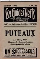 Les Guides Verts : Puteaux (92) Plan Rues Renseignements En 1926  Publicités Commerciales - Europe