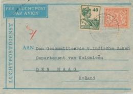 Nederlands Indië - 1933 - 40 Cent Wilhelmina + 2,5 Cent Op LP-cover Van LB Kisaran Naar Den Haag / Nederland - Nederlands-Indië