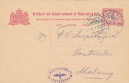 Nederlands Indië - 1917 - 5(+5) Cent Cijfer, Vraagbriefkaart G24V Van LB KLAKAH Naar Malang - Nederlands-Indië