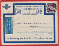 Nederlands Indië - 1937 - 20 Cent Wilhelmina Op LP-cover Van LBnr KLATEN/1 Naar Deventer / Nederland - Nederlands-Indië