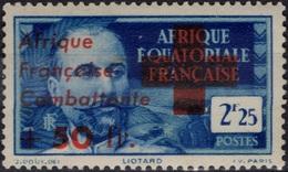 AEF Afrique Equatoriale Française 165 ** MNH Signé : Victor LIOTARD Surcharge Afrique Française Combattante (CV 32  €) - Neufs