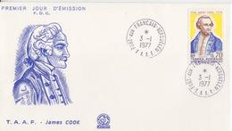 Kerguelen  03/01/77  N° 63  Premier Jour Sur FDC (James Cook) - Französische Süd- Und Antarktisgebiete (TAAF)