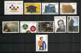 Année Complète 2011.  10 Timbres Neufs **  Deux Hautes Faciales Patrimoine Culturel. Côte 40,50 Euro - Andorra Española