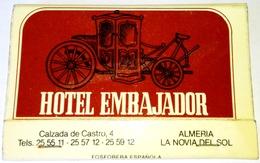 Vieux Matchbook, Old Matchbook, Antigua Cartera De Cerillas - Hotel Embajador, Almería - Cajas De Cerillas (fósforos)
