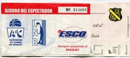 JUEGO DE BASQUET - EN ESTADIO OBRAS. PLATEAS BAJA. TICKET ESPECTACULO BALONCESTO, BASKETBALL, SPORT -LILHU - Tickets - Entradas