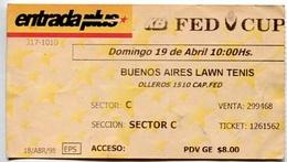 BUENOS AIRES LAWN TENIS. FECHA: DOMINGO 19/04/1989. ARGENTINA. SECTOR C.. ENTRADA PLUS. FED CUP. TICKET TENNIS. -LILHU - Tickets - Entradas