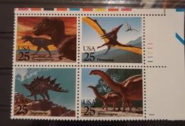 US 1989 DINOSAURS 25c BLOCK SCOTT # 2422-25, VF-XF MNH**OG - Stamps