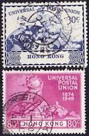 Hong Kong 1949 UPU Issue Mi 175-176; SG 175-176 Used O, I Sell My Collection! - Hong Kong (...-1997)