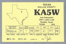 US.- QSL KAART. CARD. KA5W. JOEL RUBENSTEIN, ROWLETT, TEXAS. DALLAS COUNTY. U.S.A. - Radio-amateur