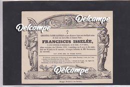 """Doodbrief """"Franciscus Isselee"""" Overleden 5 Okt 1855 - Sint-Kruis (Brugge) - Religion & Esotérisme"""