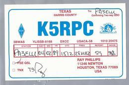 US.- QSL KAART. CARD. K5RPC. RAY PHILLIPS, NEWTON, TEXAS. HARRIS COUNTY. U.S.A. - Radio-amateur