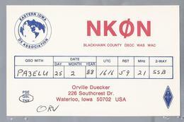 US.- QSL KAART. CARD. NKON. NKØN. ORVILLE DUECKER, WATERLOO, IOWA. BLACKHAWK COUNTY. U.S.A. - Radio-amateur