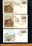 X3 Timbre Poste Eglise De Brou Cachet Premier Jour 1969 + Signature Graveur Georges BETEMPS Sur Enveloppe - Frankrijk