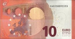 ! UNCIRC.10 Euro F002C5, FA2230095555,  Currency, Banknote, Billet Mario Draghi, EZB, Europäische Zentralbank - 10 Euro