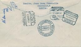 1964 , CERTIFICADO CIRCULADO A VALENCIA , DESCONOCIDO , DEVUELTO A SU PROCEDENCIA , PREGONADO EN CARTERIA , LISTA - 1931-Hoy: 2ª República - ... Juan Carlos I