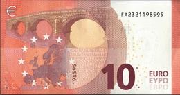 ! Unc. 10 Euro F002I6, FA2321198595,  Malta, Currency, Banknote, Billet Mario Draghi, EZB, Europäische Zentralbank - 10 Euro