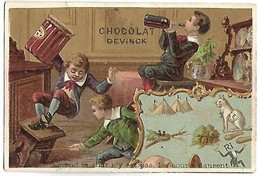 CHROMO - CHOCOLAT DEVINCK - Quand Le Chat N'y Est Pas, Les Souris Dansent - Unclassified