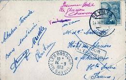 1953 , TARJETA POSTAL CIRCULADA , SEVILLA - LES BOSSONS , DEVUELTA AL REMITENTE - 1931-Oggi: 2. Rep. - ... Juan Carlos I