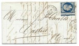 N°14 BLEU NAPOLEON SUR LETTRE / TOULOUSE POUR CASTRES / 4 AOUT 1856 - Storia Postale