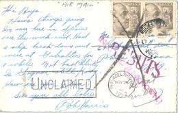 """1952 , TARJETA POSTAL CIRCULADA , CADIZ , LA LINEA DE LA CONCEPCIÓN - PHILADELPHIA , DESCONOCIDO """" UNCLAIMED """" , REBUTS - 1931-Hoy: 2ª República - ... Juan Carlos I"""
