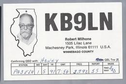 US.- QSL KAART. CARD. KB9LN. ROBERT MILHONE, MACHESNEY PARK, ILLINOIS. WINNEBAGO COUNTY. U.S.A. - Radio-amateur