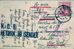 "1953 , TARJETA POSTAL CIRCULADA , BARCELONA - NUEVA YORK , DEVUELTA AL REMITENTE , "" UNCLAIMED "" , "" RETOUR "" - 1931-Hoy: 2ª República - ... Juan Carlos I"