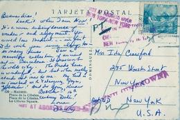 "1953 , TARJETA POSTAL CIRCULADA , MADRID - NUEVA YORK , "" NOT IN DIRECTORY "" , DESCONOCIDO , "" NOT AT ADDRESS GIVEN "" - 1931-Hoy: 2ª República - ... Juan Carlos I"