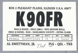US.- QSL KAART. CARD. K9QFR. AL SWETTMAN, Jr., ILLINOIS. SANGAMON COUNTY. U.S.A. - Radio-amateur