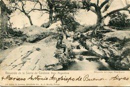AFLUYENTE LAGO ALTA GRACIA CORDOBA ARGENTINA. AUTOGRAPHE MARIANO ANTONIO ESPINOSA. POSTALE CPA CIRCULEE 1928 -LILHU - Argentina