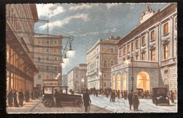 TRIESTE - INIZI 900 - PIAZZA E TEATRO VERDI - ACQUERELLATA ED ANIMATISSIMA! - Trieste