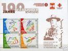 """AUSTRIA  - 2007-  """" A CENTENARY SCOUT """" -  HOJITA BLOQUE De 4 V.DENTADOS - Movimiento Scout"""