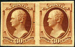US #217a  IMPERF. PAIR O.g. Hinged   30c  Hamilton From 1888   (RARE) - Unused Stamps