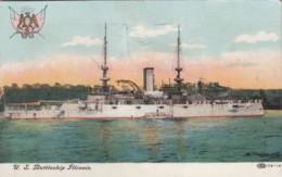 USS Illinois Navy Battleship, 'Mechanical' Flag Rises Out Of Postcard, C1900s Vintage Postcard - Warships